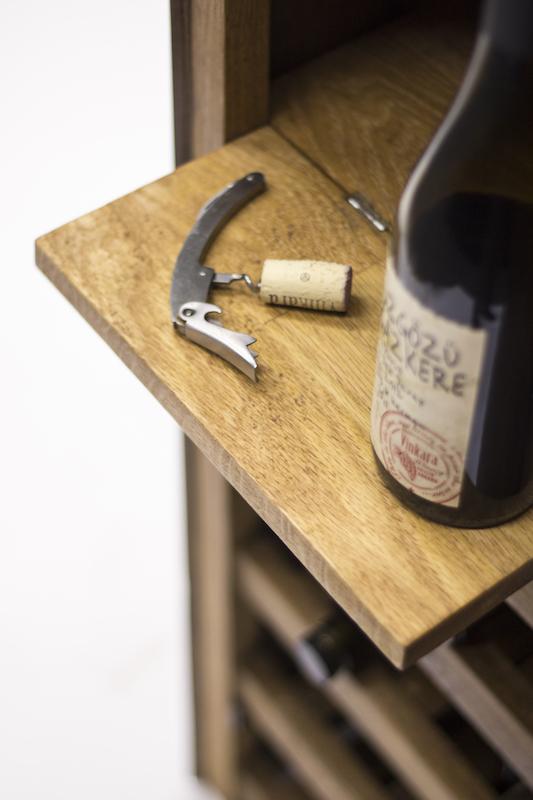 Oak wine cabinet detail